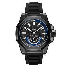 """JBW """"Delmare"""" Black Stainless Steel Men's 4-Diamond  Silicone Watch"""