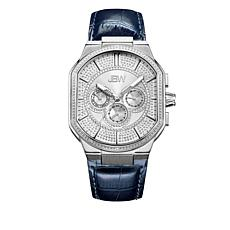 "JBW Men's ""Orion"" 12-Diamond Black Leather Watch"