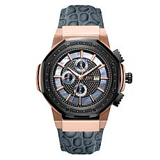 "JBW Men's ""Saxon"" 16-Diamond Rosetone Black Leather Watch"