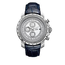"JBW Men's ""Titus"" 12-Diamond Navy Leather Watch"