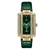 "JBW ""Mink"" Goldtone Women's 2-Diamond Green Leather Watch"