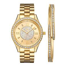 "JBW ""Mondrian"" Goldtone Women's Watch and Cuff Bracelet Set"