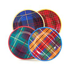 Jeffrey Banks Designer Plaid 4-piece Dessert Plates