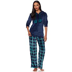 Jeffrey Banks Hooded Tunic 2pc Pajama Set with Pom Poms