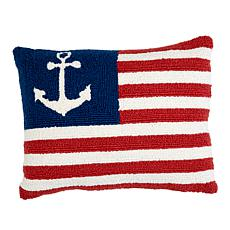 Jeffrey Banks USA Anchor Decorative Hand-Hooked Wool Pillow