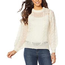 Jessica Simpson Crew-Neck Pointelle Pullover Sweater