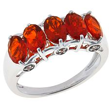 Jewelry Vault 14K White Gold Fire Opal and White Zircon 5-Stone Ring