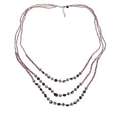 """JK NY 28"""" Tiered 3-Row Beaded Simulated Pearl Necklace"""
