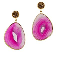 JK NY Agate Slice Pavé Accent Drop Earrings