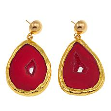 JK NY Agate Slice Polished Frame Drop Earrings