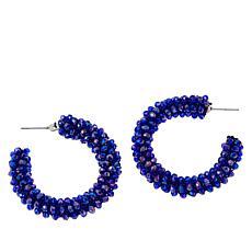 JK NY Beaded C-Hoop Earrings