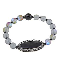JK NY Oval Station Colored Bead Stretch Bracelet