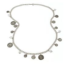 "Joan Boyce 38"" Simulated Pearl and Coin Dangle Necklace"