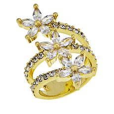 Joan Boyce Cubic Zirconia and Crystal Triple Flower Ring