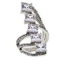 Joan Boyce Cubic Zirconia and Crystal Zigzag Ring