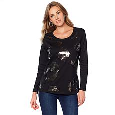 Joan Boyce Leopard Sequin Long-Sleeve Top