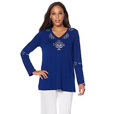 Joan Boyce Long-Sleeve V-Neck Top with Crystal Detail