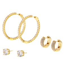 "Joan Boyce ""Once in a Lifetime"" CZ and Crystal 3-piece Earrings Set"