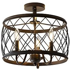 "Jonathan Y Eleanor 15"" 3Light Metal LED Semi Flush Mount Ceiling Light"