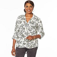 6d35a6109ac29 Jones NY Linen-Blend Printed Button-Down Shirt - Missy