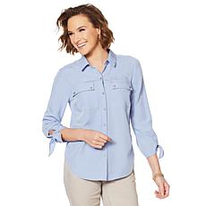 Jones NY Tie-Sleeve Button-Front Shirt - Missy