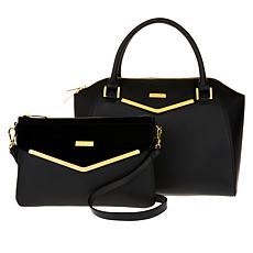 JOY & IMAN Couture Leather Satchel & Clutch with Velvet Detail