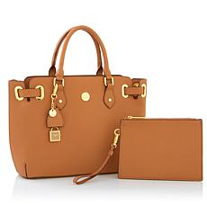 JOY Leather Saffiano Satchel and Clutch with RFID