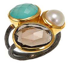 Joya 3-Stone Goldtone Statement Ring