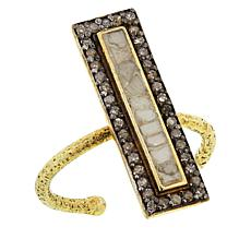 Joya Diamond and Polki Diamond Deco Hammered Ring