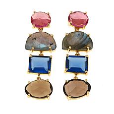 Joya Gemstone and Glass Goldtone Statement Earrings