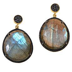 Joya Goldtone Deco Crushed Diamond and Gemstone Drop Earrings