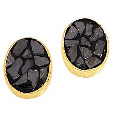 Joya Goldtone Deco Crushed Diamond Oval Stud Earrings