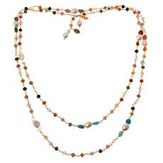 Joya Goldtone Gemstone and Freshwater Pearl Necklace