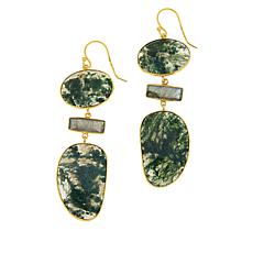 Joya Goldtone Green Agate and Labradorite Drop Earrings
