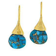 Joya Goldtone Sterling Silver Turquoise Teardrop Earrings