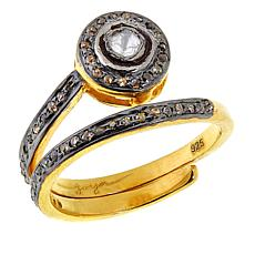 Joya Two-Tone Sterling Silver Polki Diamond Wrap Ring