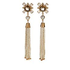 Joya Veronica White Agate and Gem Tassel Earrings
