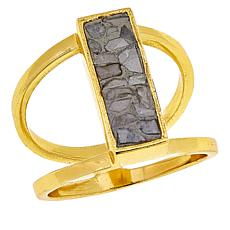 Joya White Deco Crushed Diamond Rectangular Ring