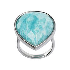 Joyelle Sterling Silver Amazonite Solitaire Ring