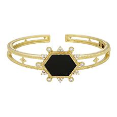 Judith Ripka 14K Gold Clad Black Onyx and Diamonique® Cuff Bracelet