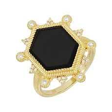 Judith Ripka 14K Gold Clad Black Onyx and Diamonique® Ring