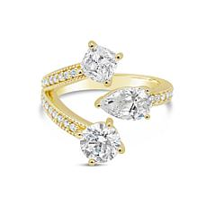 Judith Ripka 14K Gold-Clad Diamonique® 3-Row Bypass Ring