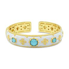 Judith Ripka 14K Gold-Clad Turquoise and Diamonique® Cuff Bracelet