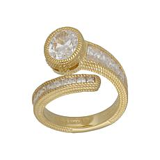 Judith Ripka 14K Yellow Gold Clad Diamonique® Bypass Ring
