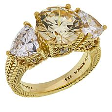 Judith Ripka 3-Stone Canary Diamonique® Engagement Ring