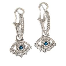 Judith Ripka Blue Topaz and Diamonique® Evil Eye Charm Earrings