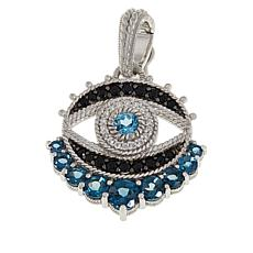 Judith Ripka Blue Topaz, Spinel and Diamonique® Evil Eye Pendant