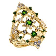 Judith Ripka Chrome Diopside and Diamonique® Open Work Ring