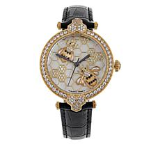 Judith Ripka Goldtone CZ Mother-of-Pearl Bumblebee Leather Strap Watch