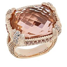 Judith Ripka Rose Gold-Plated Simulated Morganite Ring